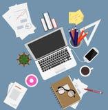 Иллюстрация вектора рабочего места плоская Стоковое Фото