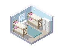 Иллюстрация вектора равновеликая комнаты общежития дешевый значок гостиницы Стоковые Фотографии RF