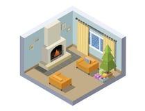 Иллюстрация вектора равновеликая украшения комнаты Рожденственской ночи Стоковое Изображение