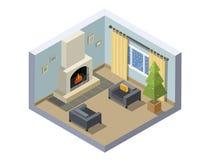 Иллюстрация вектора равновеликая украшения комнаты Рожденственской ночи Стоковая Фотография