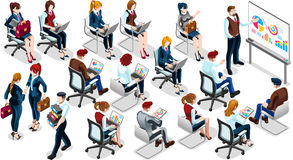 Иллюстрация вектора равновеликого значка тренировки продавцов 3D людей установленная иллюстрация штока