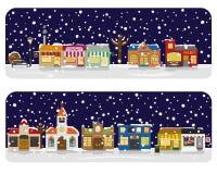 Иллюстрация вектора района главной улицы деревни зимы Стоковые Фотографии RF