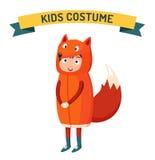 Иллюстрация вектора ребенк Fox изолированная костюмом Стоковая Фотография