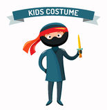 Иллюстрация вектора ребенк Ninja изолированная костюмом Стоковое Изображение RF