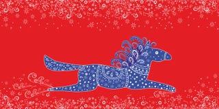 Иллюстрация вектора рождества. Красивая голубая лошадь Стоковая Фотография