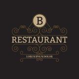 Иллюстрация вектора роскошного логотипа ресторана Стоковые Изображения