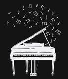 Иллюстрация вектора рояля с примечаниями Музыкальный инструмент клавиатуры Стилизованный рояль выдавая звук музыкально иллюстрация штока