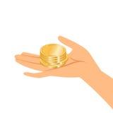 Руки держа золотые монетки иллюстрация штока