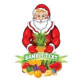 Иллюстрация вектора Санта Клауса с плодоовощ Стоковое Изображение