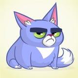 Иллюстрация вектора сварливого голубого кота Милый маленький кот шаржа с сварливым выражением