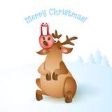 Иллюстрация вектора северного оленя рождества Стоковые Изображения