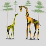 Иллюстрация вектора семьи жирафа Стоковые Изображения