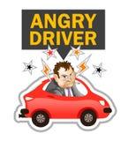 Иллюстрация вектора: Сердитый ярлык водителя Стоковая Фотография RF
