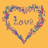 Иллюстрация вектора сердца Нарисованный рукой doodle влюбленности Цветастый элемент Стоковые Изображения