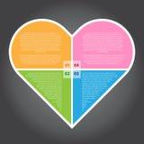 Иллюстрация вектора, сердце Infographic для проектной работы Стоковые Изображения