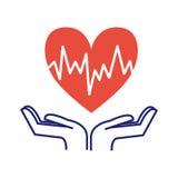 Иллюстрация вектора символа заботы сердца Стоковая Фотография