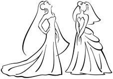Силуэты вектора невест Стоковое Фото