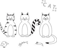 Иллюстрация вектора смешных установленных котов Стоковое Изображение RF