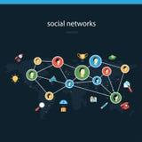 Иллюстрация вектора социальных сетей плоская Стоковая Фотография RF