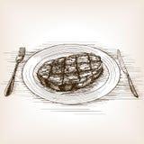 Иллюстрация вектора стиля эскиза стейка Стоковое Изображение