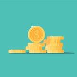 Иллюстрация вектора стога монеток, плоские штабелированные деньги монетки Стоковая Фотография