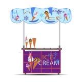 Иллюстрация вектора стойки мороженого плоская Стоковое Фото