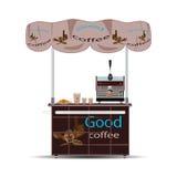 Иллюстрация вектора стойла кофе плоская Стоковые Изображения RF