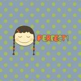 Иллюстрация вектора стороны детей Ярлыки школы достижения вектора Портрет Emoji с предпосылкой точек и совершенным словом Стоковое Изображение RF