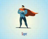 Иллюстрация вектора супергероя бизнесмена Стоковые Фотографии RF