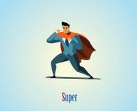 Иллюстрация вектора супергероя бизнесмена Стоковые Фото