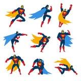 Иллюстрация вектора супермена установленная представлениями иллюстрация вектора