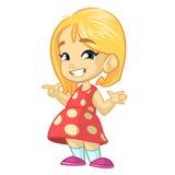 Иллюстрация вектора счастливой маленькой девочки в красном цвете поставила точки платье представляя с ее рукой иллюстрация вектора