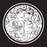 Иллюстрация вектора сюрреалистическая с целовать любовников Стоковая Фотография