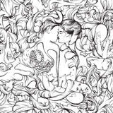 Иллюстрация вектора сюрреалистическая с целовать любовников Стоковые Изображения