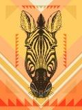 Иллюстрация вектора с головой зебры иллюстрация вектора