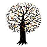 Иллюстрация вектора с деревом Стоковые Изображения RF