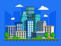 Иллюстрация вектора с небоскребами в плоском дизайне Большой зеленый цвет m бесплатная иллюстрация