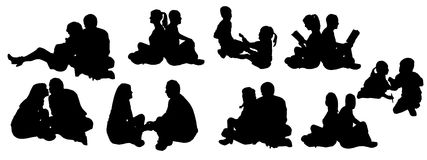 Иллюстрация вектора с силуэтами семьи. Стоковая Фотография RF