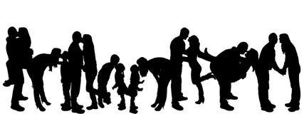 Иллюстрация вектора с силуэтами семьи. Стоковое Изображение