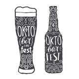 Иллюстрация вектора с стеклом Grunge пива и бутылки пива Стоковые Фото