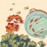 Иллюстрация вектора с цветками и рыбами Стоковые Изображения