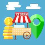 Иллюстрация вектора тележки мороженого Стоковая Фотография