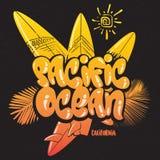 Иллюстрация вектора Тихого океана печати прибоя лета тропическая Иллюстрация штока