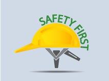 Иллюстрация вектора трудной шляпы безопасность прежде всего Стоковые Изображения