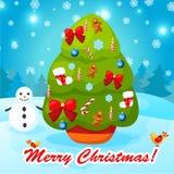 Иллюстрация вектора украшенной рождественской елки Стоковые Изображения RF
