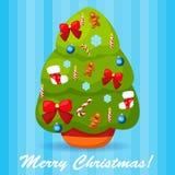 Иллюстрация вектора украшенной рождественской елки Стоковые Фотографии RF