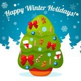 Иллюстрация вектора украшенной рождественской елки Стоковое Изображение RF