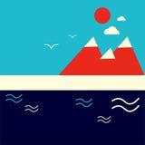 Иллюстрация вектора фона острова озера гор геометрическая Стоковые Фото