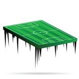 Иллюстрация вектора футбольного поля зеленая Стоковые Фотографии RF