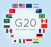 Иллюстрация вектора флагов стран G-20 Группа в составе 20 Стоковая Фотография RF
